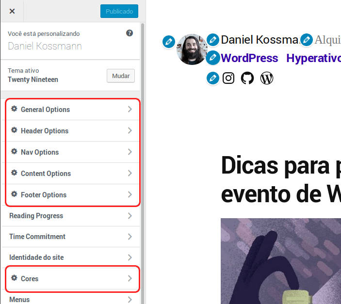 Tela do 'Personalizar' marcando os itens adicionados pelo plugin Options for Twenty Nineteen do WordPress